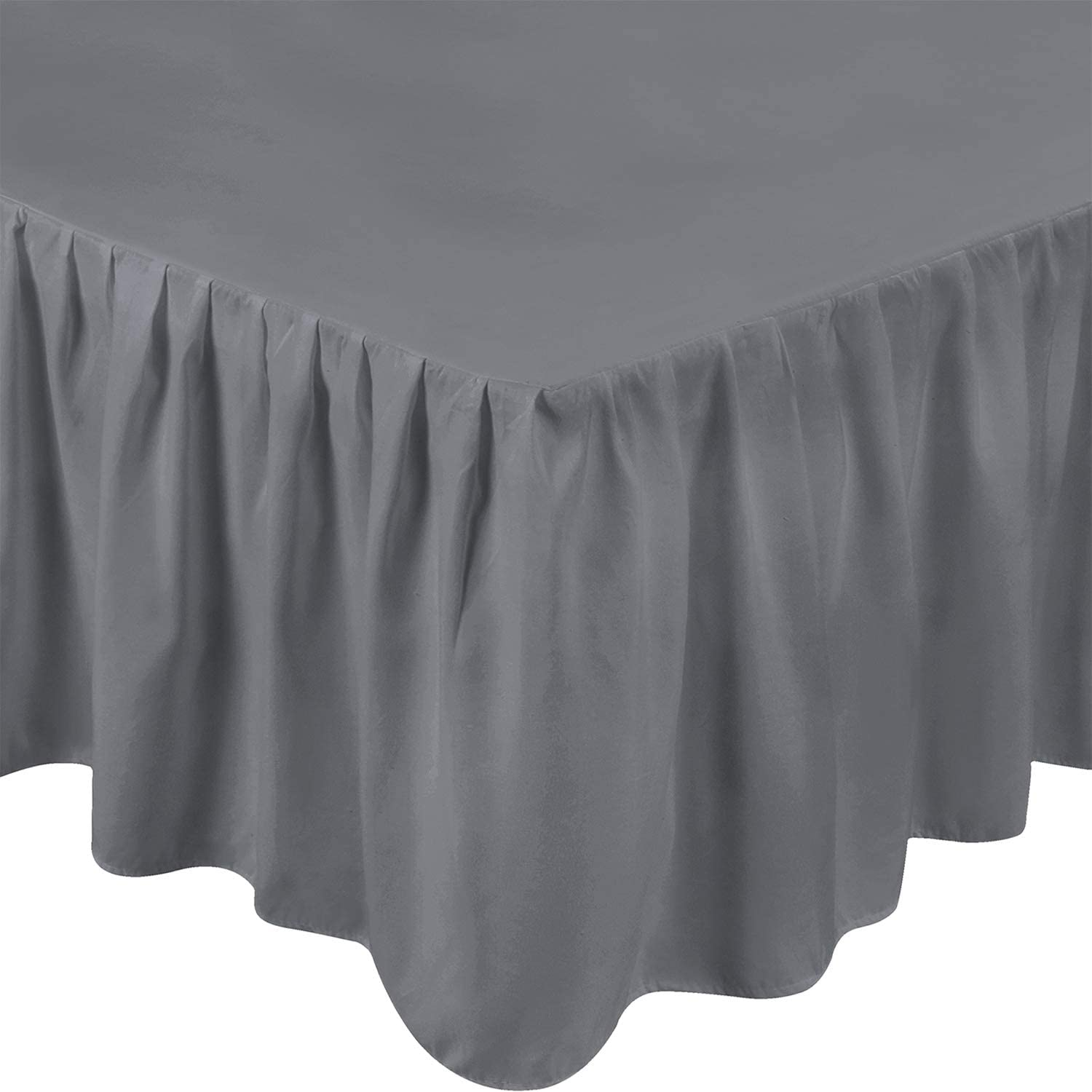 Utopia Bedding Full Ruffle Bed Skirt,16 Inch Drop (Grey)