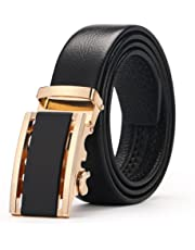 "Men's belt, Gifny Genuine Leather belt with Automatic Buckle and Enclosed in an Elegant Gift Box, Adjustable from 20"" to 43"" Waist"