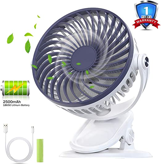 HQKJ Ventilador de Mesa Ventilador USB Silencioso Ventilador Recargable Clip de Ventilador para Oficina, Carrito de Bebé Cuna, 5 Pulgadas, 3 Velocidades, Batería de ...