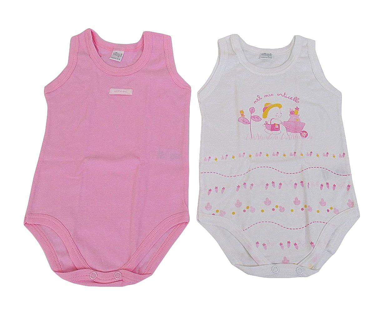 Due BODY neonato ELLEPI in puro cotone 9 mesi cm 74 rosa