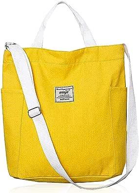 Bolsa de Lona Amarilla LLMZ Bolso de Mano Casual Bolsa de Mano Bolsa de Hombro, Bolsa de Playa Casual Chic Tote Bag Ideal para Pintar, Uso Diario y Viajes