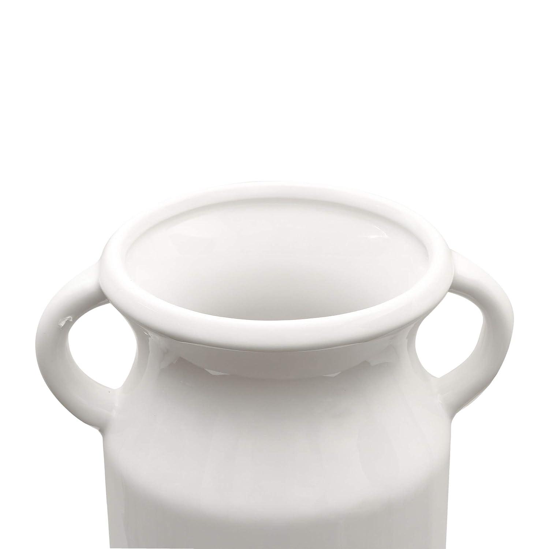 casa Cucina Tavolo Matrimonio Ufficio 16//19cm Vaso di Fiori Bianchi per Soggiorno TERESAS COLLECTIONS Vasi in Ceramica Vaso di Fiori Set di 2 vasi in Ceramica con Motivo a Foglie Vintage
