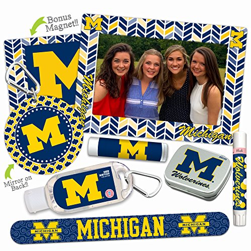 Michigan Wolverines—DELUXE Variety Set (Nail File, Mint Tin, Mini Mirror, Magnet Frame, Lip Shimmer, Lip Balm, Sanitizer). NCAA Michigan Wolverines gifts, stocking stuffers. Only from Worthy.