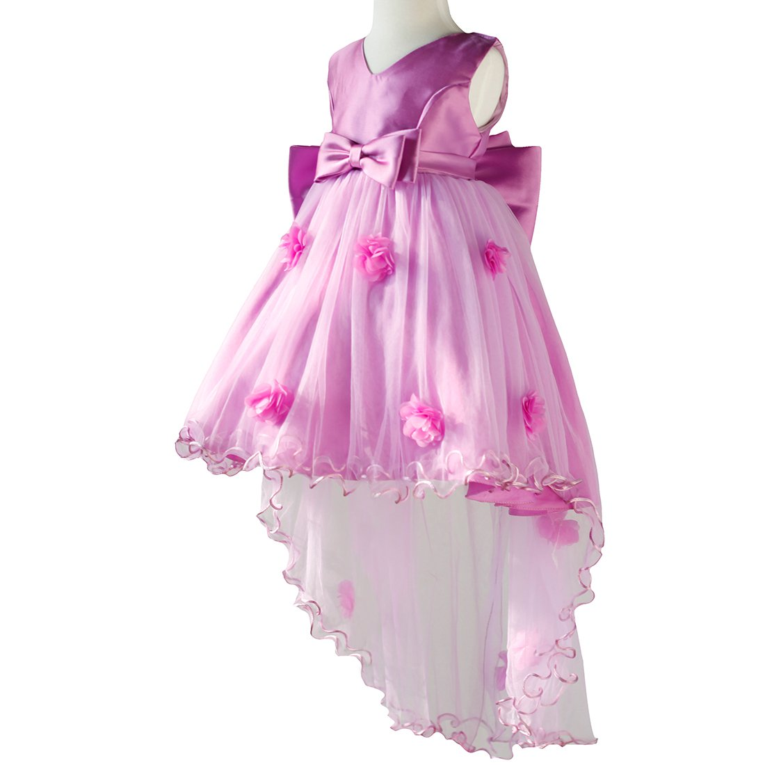 Flower Girl Big Bowknot Easter Princess Fishtail Lace Dress Chiffon Gown Long Girl Skirt for Pageant Wedding Party