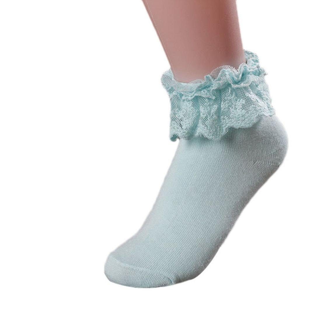 Girl Youth Lovely Vintage Lace Ruffle Frilly Ankle Cotton Princess Sock (Blue)