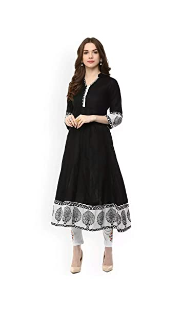 AnjuShree Choice Women Stitched Printed Cotton Anarkali Kurta Kurti Women's Kurtas & Kurtis at amazon