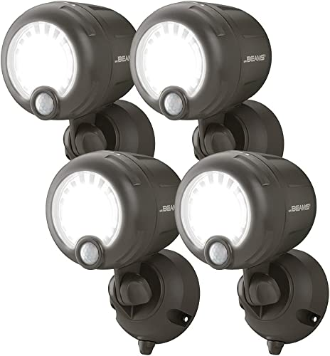 Mr. Beams MB360XT Wireless Battery-Operated Outdoor Motion-Sensor-Activated 200 Lumen LED Spotlight, Brown, 4-Pack