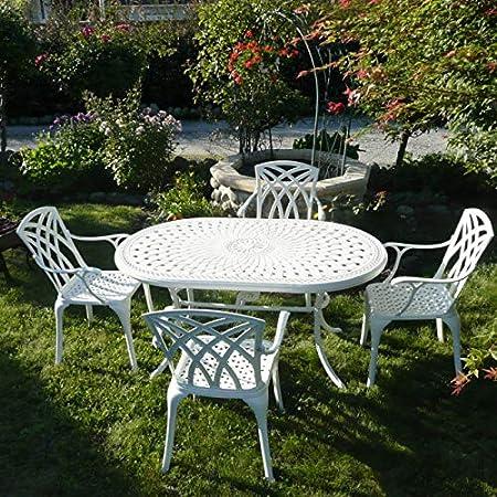 Lazy Susan June Mesa de Jardín y 4 Sillas April en Blanco con Cojines de Asiento en Terracota Muebles de Jardín: Amazon.es: Jardín
