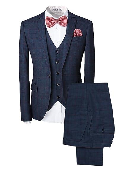 Traje para hombre 3 piezas chaqueta chaleco pantalón traje al estilo occidental: Amazon.es: Ropa y accesorios