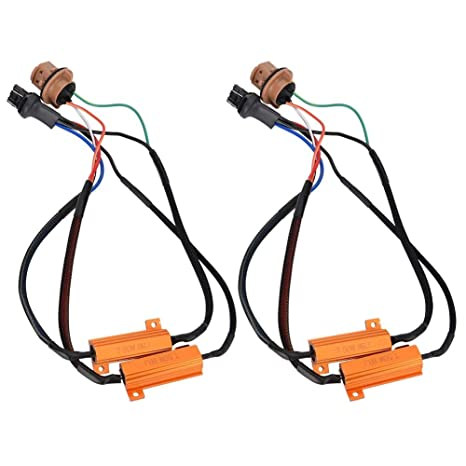 Duokon 2 PCS 50W Carga LED Bombillas Cables de arnés de Resistencia Simple, 7443 8RJ