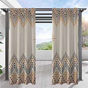 Indoor Outdoor Curtains Vintage Primitive Aztec Native Motif with Folk Art Effect Print Waterproof Outside DéCor Perfect Material for Outdoor Patio Peach Amber W108 x L96 Inch