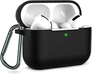 Coffea AirPods Pro Case with Keychain, AirPods 3 Protective Cover Silicone Case for AirPods Pro Charging Case (Front LED Visible) (Black)
