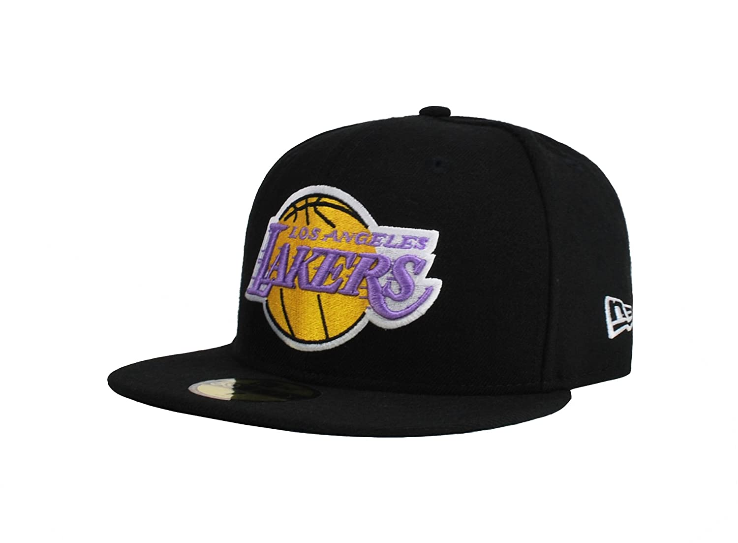 b705be80877 Amazon.com   New Era 59fifty Hwcbasic Nba Los Angeles Lakers Fitted Men s Hat  Cap Black purple (7 1 8)   Sports   Outdoors