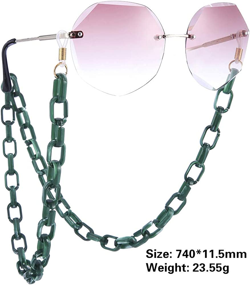 kkjoy Fashion Hip Hop Eyewear Chain Retro Acrylic Eyeglasses Sunglasses Reading Glasses Non-Slip Rubber Strap Keeper Lanyard Holder Necklace for Women Men