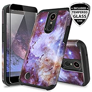 LG K20 Plus Case, LG K20 V Case, LG Harmony Case, LG Grace 4G LTE Case, TJS [Full Coverage Tempered Glass Screen Protector] Slim Hybrid Shockproof Impact Rugged Marble Case Armor Cover (Stardust)
