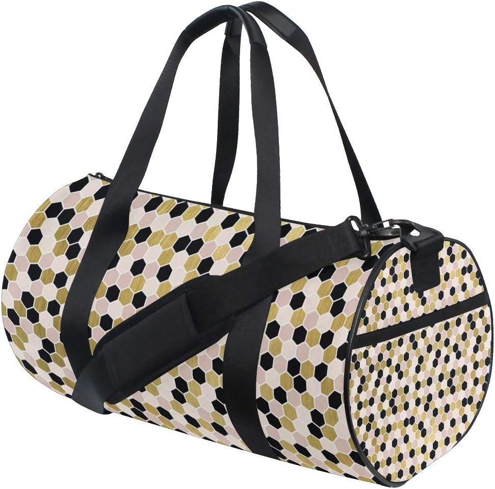 MALPLENA Color Gold Mosaic Christmas Pattern Drum gym duffel bag women Travel Bag
