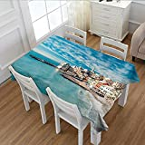 Littletonhome Italy Printed Tablecloth Panorama of Old Italian Fishing Village Beach in Old Province Coastal Charm Image Flannel Tablecloth Turquoise 52''x70''