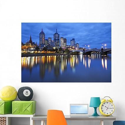 Amazoncom Wallmonkeys Skyline Melbourne Australia Across Wall