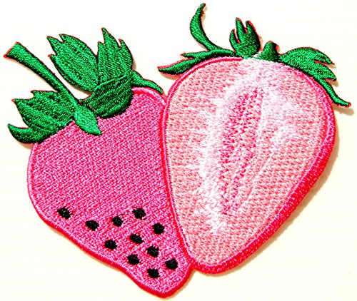 Sweet Strawberry Fruit Cooking Logo Kid Baby Jacket T-shirt Patch Sew Iron on Embroidered Sign Badge Costume Clothing BY PANICHA]()