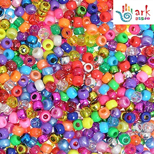 4-in-1 Assorted Pearlised/Glitter/Metallic/Bright Pony Beads PK-1000 by -