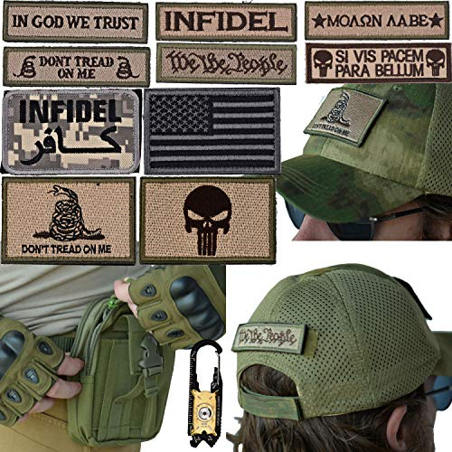 - Military Tactical [MESH] Hat Bundle: 20-in-1 Tool, Operator Cap with Embroidered Morale Patches (Velcro), and Pouch for Airsoft/Paintball - [Forest Camo]