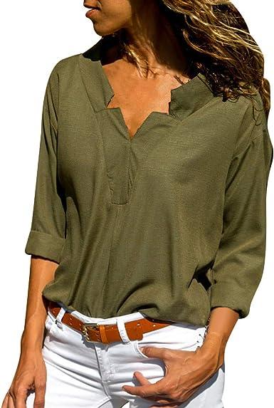 SEWORLD Camisa de Mujer Camisa de Manga Larga en Color Liso con Cuello en V(Azul Marino, Verde Militar, Negro, Vino, Blanco, Azul, Gris, S, M, L, XL, XXL, XXXL): Amazon.es: Ropa y