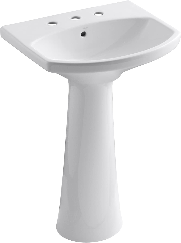 Kohler K 2362 8 0 Cimarron Pedestal Bathroom Sink With 8 Centers White Pedestal Sinks Amazon Com