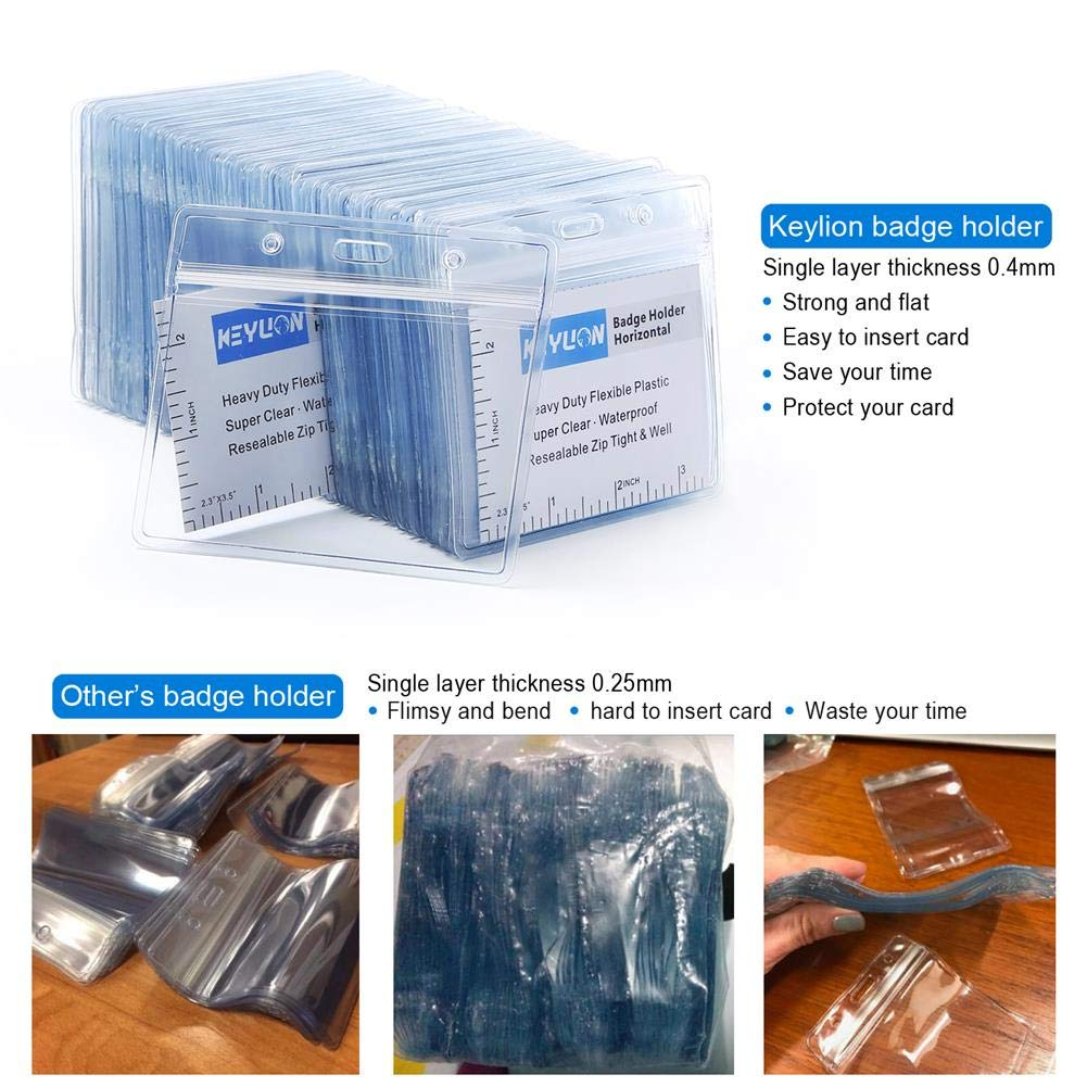 44359d97c349 KEYLION 10 Pack Heavy Duty Horizontal ID Card Name Tag Badge Holder with  Waterproof Type Resealable Zip, Plastic Single Layer Thickness 0.4mm  Thicker ...