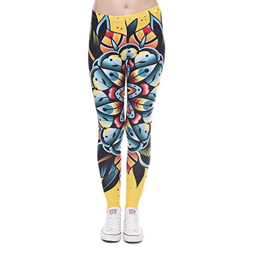 Pop Fashion Women Stretch Tropical Print Leggings Tropical Floral