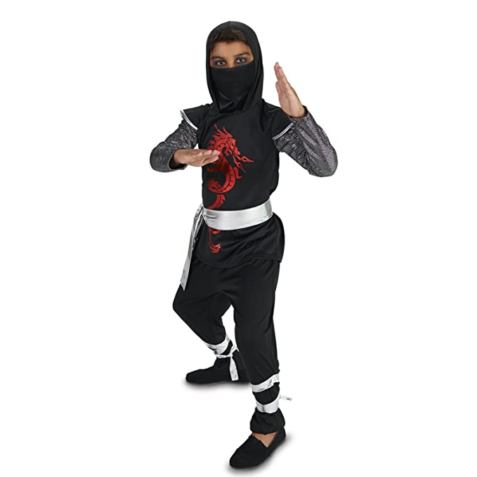 Amazon.com: Dragón Ninja disfraz para niño, Negro: Clothing