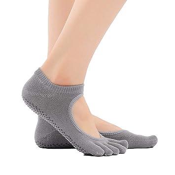Liuxc Calcetines de yoga Calcetines de Cinco Dedos, Calcetines de Yoga con Puntera Completa,