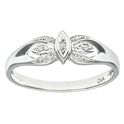 Naava Women's 9 ct White Gold Illusion set Diamond Solitare Ring FMAK0e