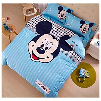 Peachy Baby Featuring Disney Mickey Mouse Bedding Sheet Set Single Queen Twin Full Size 【Free Express Shipping】 【100% Cotton】 Cool Cartoon 3 and 4 Pieces Bed Sheets (Queen Size): Home & Kitchen