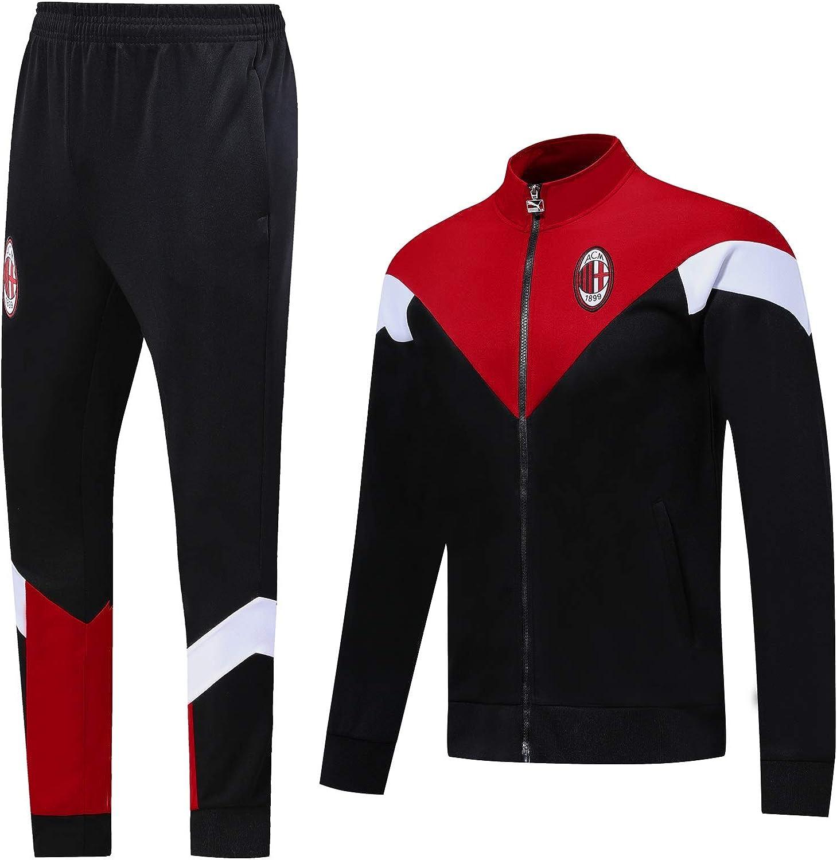 QJY Giacca a Manica Lunga da Calcio AC Milan Pantaloni Sport ...