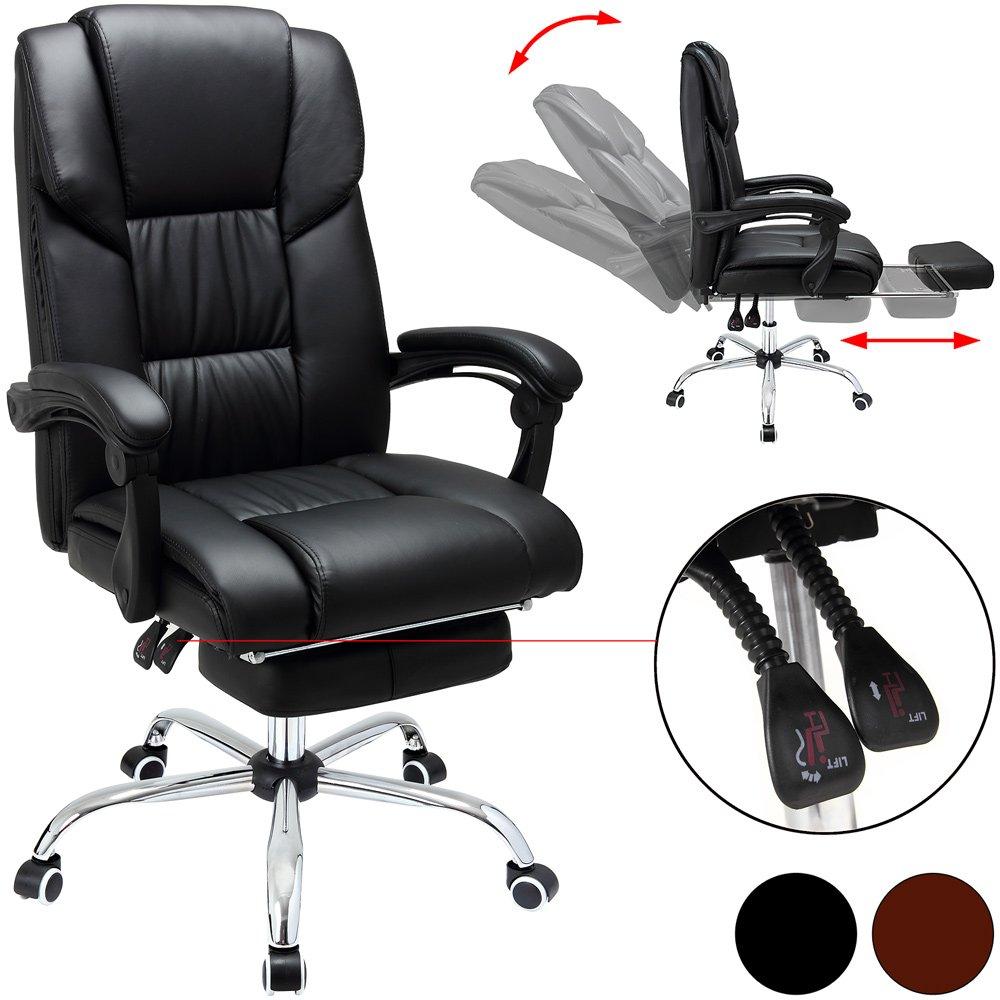 Chaise de bureau Fauteuil siège pivotant 360° Noir Rembourré Repose-PIeds Ordinateur pc