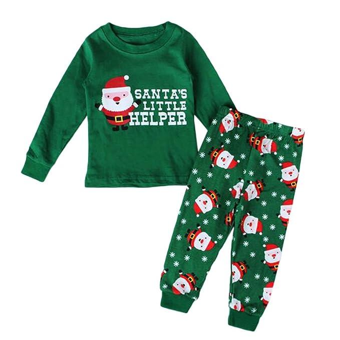 Hzjundasi 2 Pcs Manga larga Verde Papá Noel Impresión Conjuntos de pijamas Navidad Algodón Familia Ropa