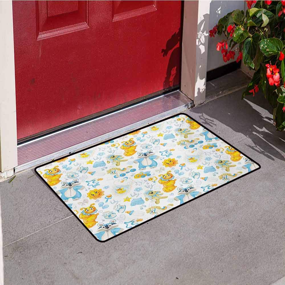 Jinguizi Nursery Welcome Door mat Its a Boy Image with Happy Sun Raccoon in Pyjamas Blue Hats and Pacifier Door mat is odorless and Durable W47.2 x L60 Inch Earth Yellow Aqua