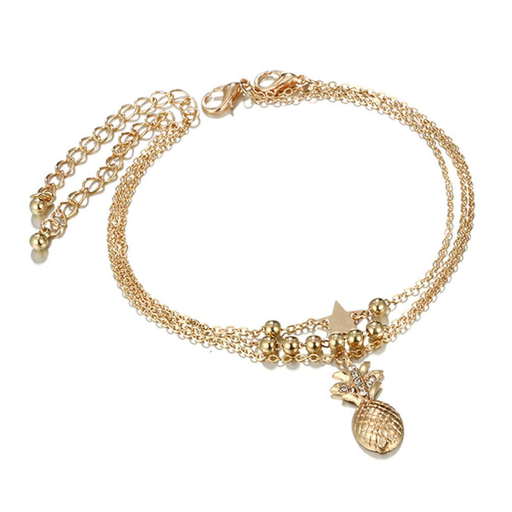 Myhouse Multilayer Five-Pointed Star Beaded Pineapple Anklet Sandal Beach Barefoot Anklet for Women Girls, Gold Color