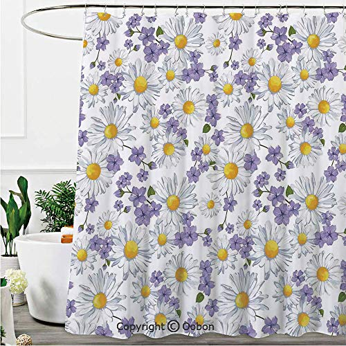 (Oobon Shower Curtains, Blossoming Chamomile Wild Flower Summer Background Spring Natural Pattern, Fabric Bathroom Decor Set with Hooks, 72 x 78 Inches)