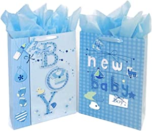 "16.5"" Extra Large Baby Shower Gift Bags (Glitter Pop-up Design Picture) with Tissue Papers/Handles and Tags for Baby Boy 2-Pack (Blue)"