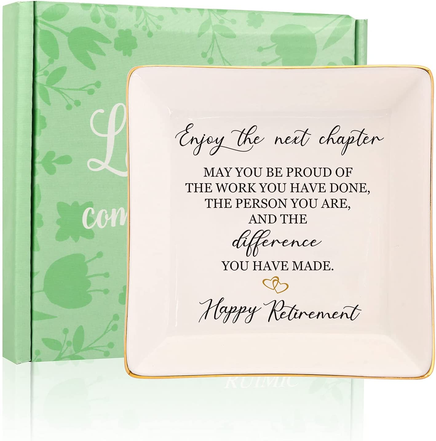 RUIMIC Retirement Gifts for Women-Ceramic Ring Dish Trinket Tray-Happy Retirement Appreciation Gift for Female, Mom, Coworkers, Teacher, Nurses, Boss, Friends-Enjoy the Next Chapter