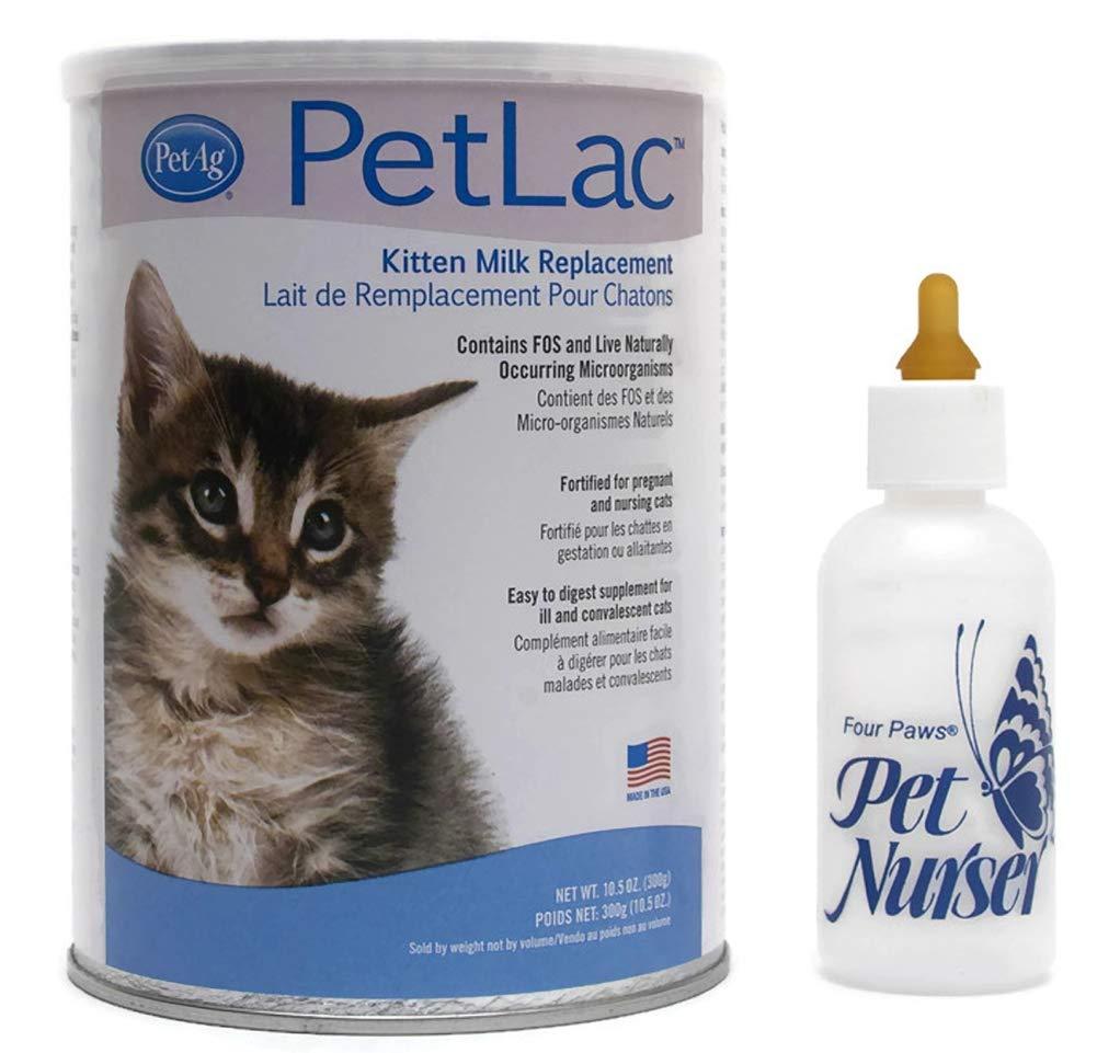 AP Taber Store PetLac Kitten Milk Replacement KMR Bundle with Four Paws Kitten Nursing Bottle