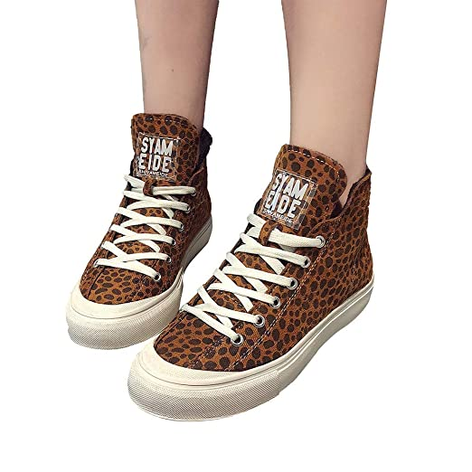 JiaMeng Zapatos Casuales de algodón Cabeza Redonda Plana con Terciopelo cálidas Botas de Leopardo Zapatillas Zapatillas Respirable Deportes para Mujer: ...