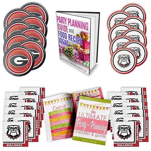 University of Georgia Bulldogs Party Supply Pack! Bundle Includes Paper Plates & Napkins for 8 Guests -