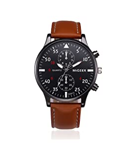 Men Watch,Hotkey Retro Design Analog Alloy Business Casual Fashion Wrist Watch,Comfortable PU Leather Band (Brown)