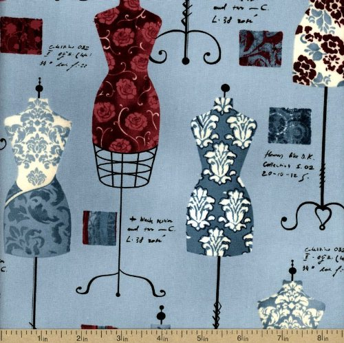 Robert Kaufman Dress Up 2 Dress Forms Vintage, 44-inch (112cm) Wide Cotton Fabric Yardage (Printed Dress Form compare prices)