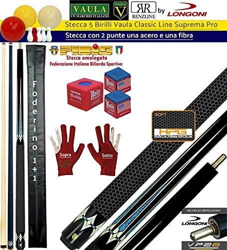 Taco 5 Birilli y 9 birilli-goriziana Billar Internacional Longoni Vaula suprema Pro, 2 puntas, acero y fibra de carbono. Homologado conos fibis, con accesorio y): Amazon.es: Deportes y aire libre