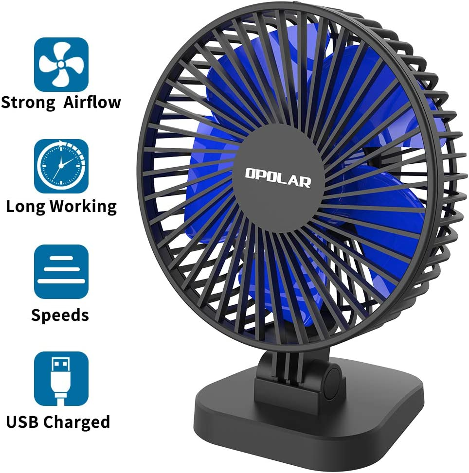 Desk Fan Small Table Fan with Strong Airflow, Mini USB Powered Personal Fan, 40° Adjustment for Better Cooling, 3 Speeds, 4.9 ft Cord, Quiet Portable Fan for Home Office Bedroom Desktop Table