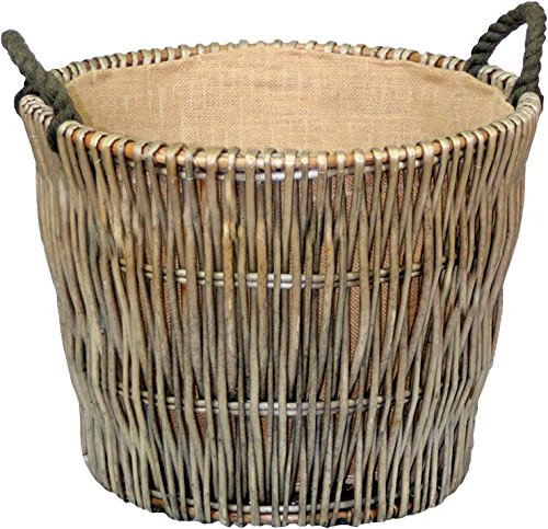 Groß Rund Antique Wash Willow Weidenkorb für Holzscheite Choice Baskets