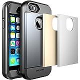 Apple iPhone SE (2016), 5S , 5 Hülle , SUPCASE Wasserresistent Ganzkörper Robustes Gehäuse mit integriertem Displayschutz / Zubehör + 3 austauschbare Abdeckungen (Space Grau / Silber / Gold)